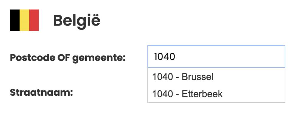 Voorbeeld van het opzoeken van een postcode in België, waar de postcode 1040 zowel onder Brussel als Etterbeek valt.